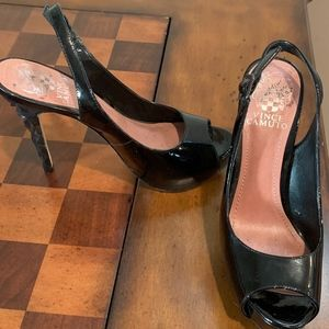 Vince Camuto Black Patent Leather Sling Back S 5.5